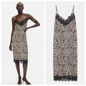 Zara Leopard & Lace Slip Midi Dress